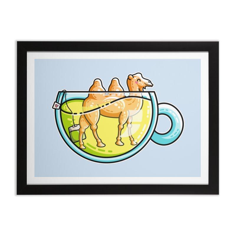 Camel-Mile-Tea Kawaii Cute Chamomile Tea Pun Home Framed Fine Art Print by Flaming Imp's Artist Shop