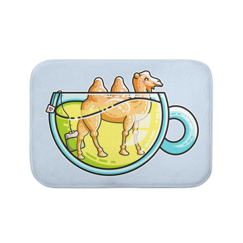 Camel-Mile-Tea Kawaii Cute Chamomile Tea Pun Home Bath Mat by Flaming Imp's Artist Shop