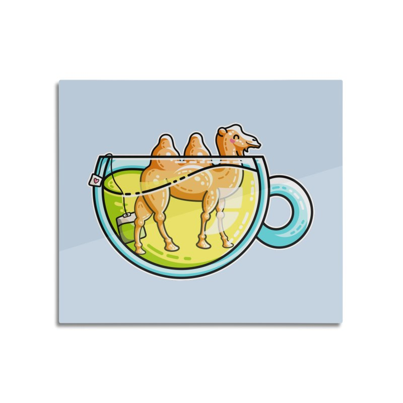 Camel-Mile-Tea Kawaii Cute Chamomile Tea Pun Home Mounted Aluminum Print by Flaming Imp's Artist Shop