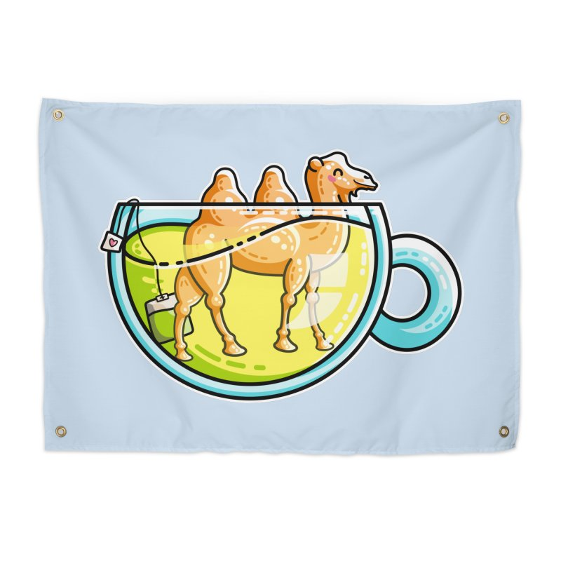 Camel-Mile-Tea Kawaii Cute Chamomile Tea Pun Home Tapestry by Flaming Imp's Artist Shop