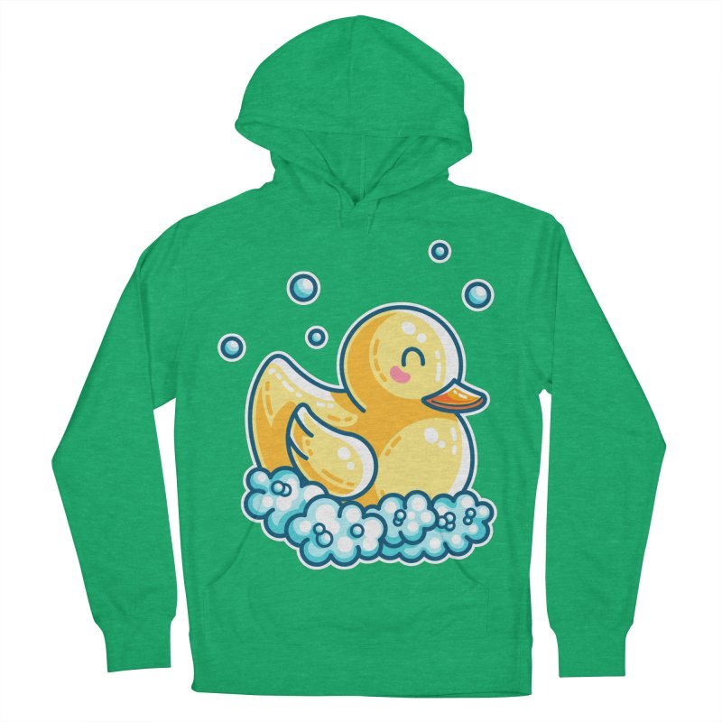 Kawaii Cute Bath Rubber Duck Men's French Terry Pullover Hoody by Flaming Imp's Artist Shop