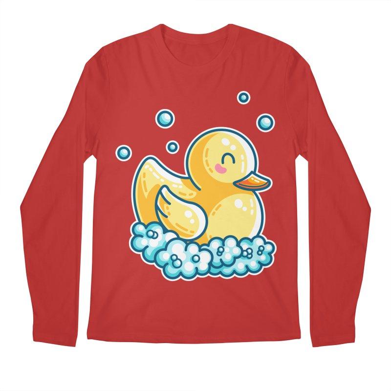 Kawaii Cute Bath Rubber Duck Men's Regular Longsleeve T-Shirt by Flaming Imp's Artist Shop