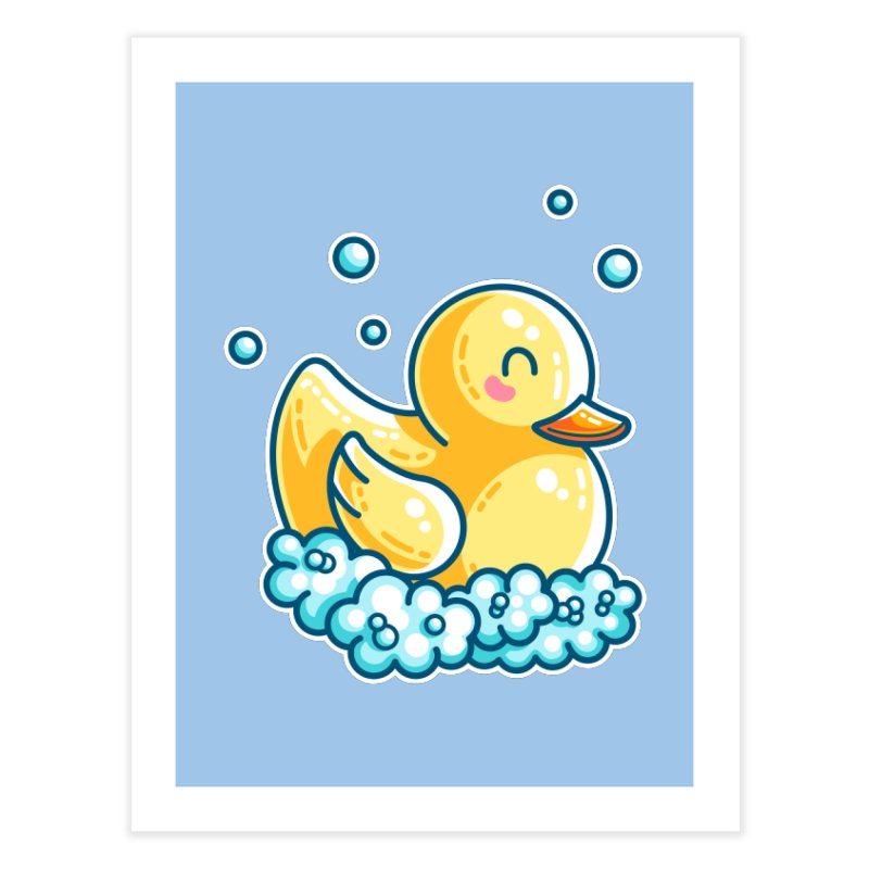 Kawaii Cute Bath Rubber Duck Home Fine Art Print by Flaming Imp's Artist Shop