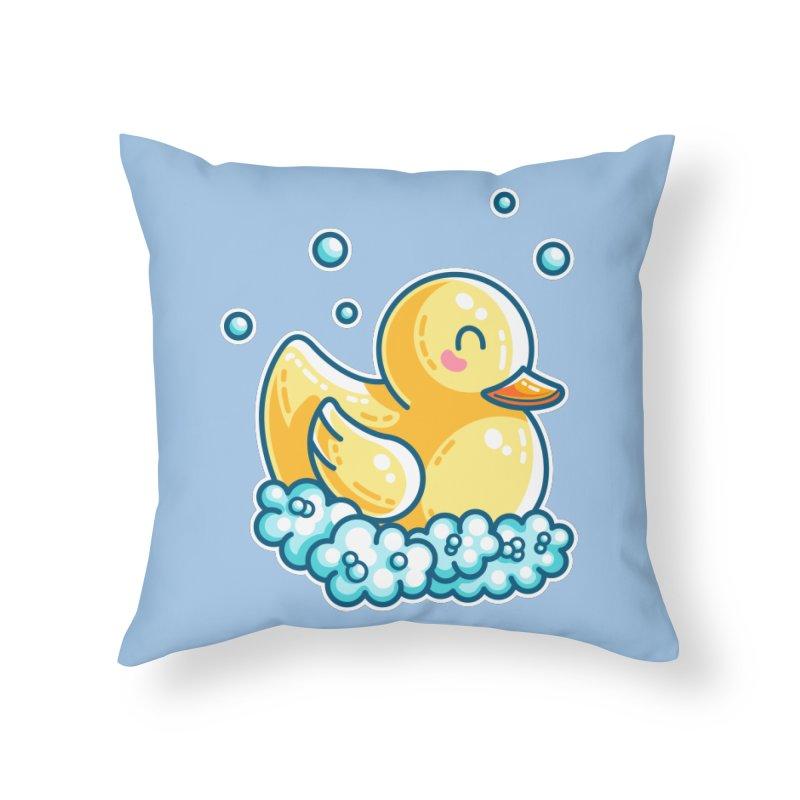 Kawaii Cute Bath Rubber Duck Home Throw Pillow by Flaming Imp's Artist Shop