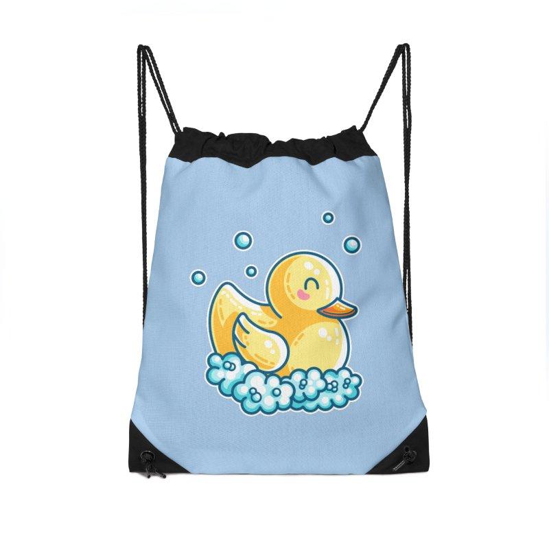 Kawaii Cute Bath Rubber Duck Accessories Drawstring Bag Bag by Flaming Imp's Artist Shop