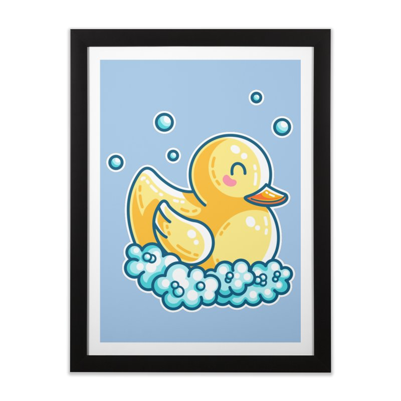 Kawaii Cute Bath Rubber Duck Home Framed Fine Art Print by Flaming Imp's Artist Shop