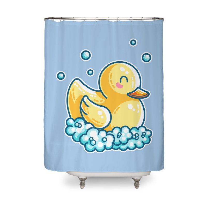 Kawaii Cute Bath Rubber Duck Home Shower Curtain by Flaming Imp's Artist Shop