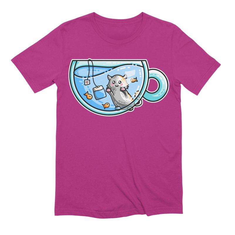 Kit-Tea Kawaii Cute Kitty Pun Men's Extra Soft T-Shirt by Flaming Imp's Artist Shop