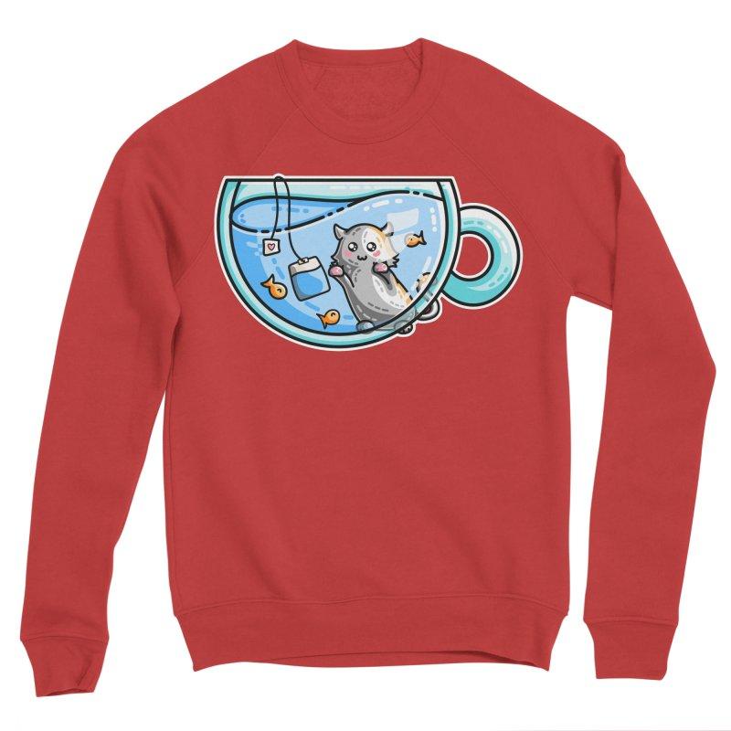 Kit-Tea Kawaii Cute Kitty Pun Men's Sponge Fleece Sweatshirt by Flaming Imp's Artist Shop