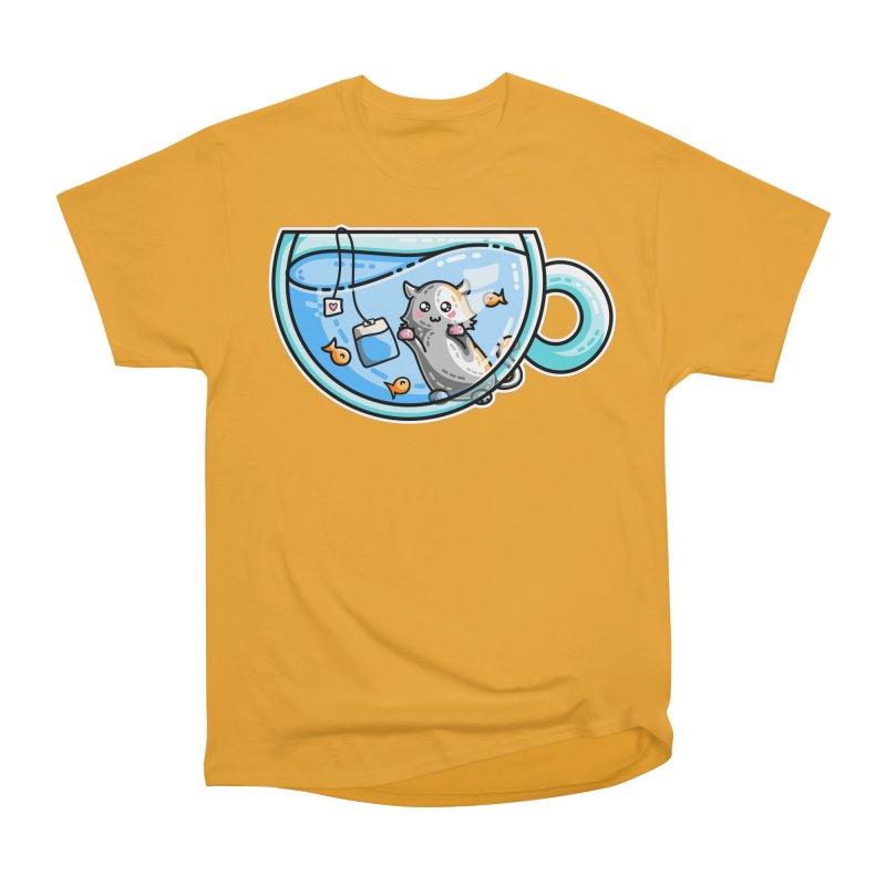 Kit-Tea Kawaii Cute Kitty Pun Women's Heavyweight Unisex T-Shirt by Flaming Imp's Artist Shop