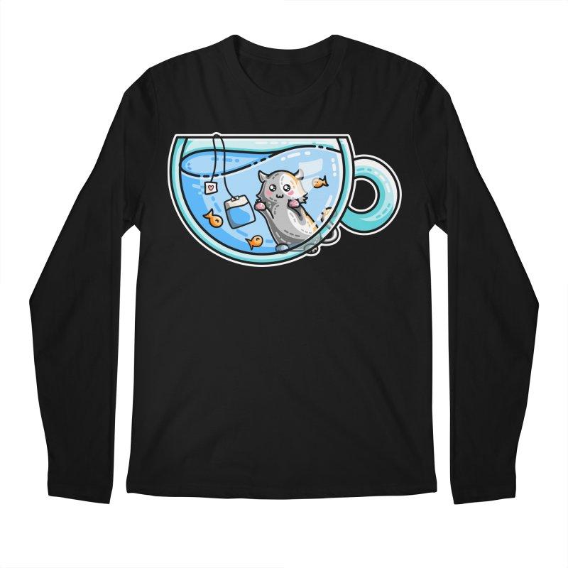 Kit-Tea Kawaii Cute Kitty Pun Men's Regular Longsleeve T-Shirt by Flaming Imp's Artist Shop