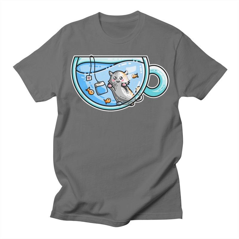 Kit-Tea Kawaii Cute Kitty Pun Men's T-Shirt by Flaming Imp's Artist Shop