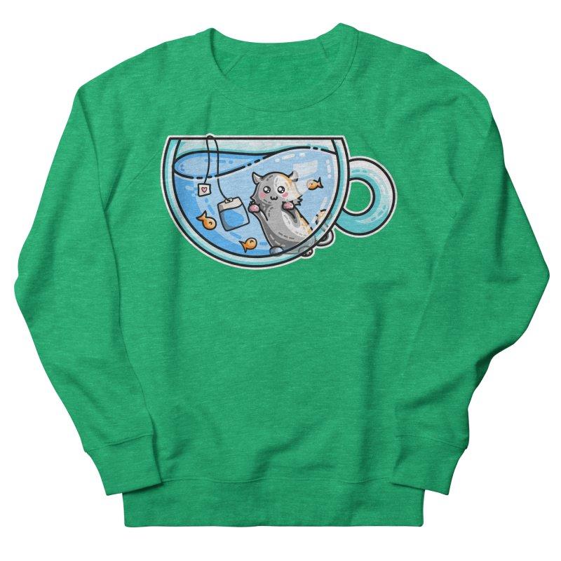 Kit-Tea Kawaii Cute Kitty Pun Women's French Terry Sweatshirt by Flaming Imp's Artist Shop