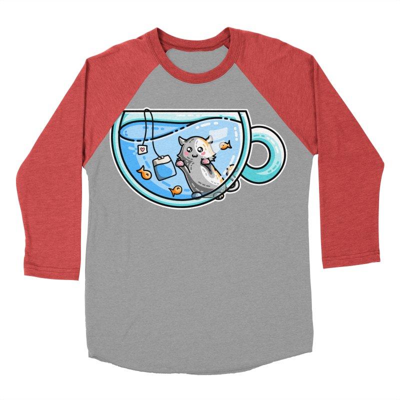Kit-Tea Kawaii Cute Kitty Pun Women's Baseball Triblend Longsleeve T-Shirt by Flaming Imp's Artist Shop