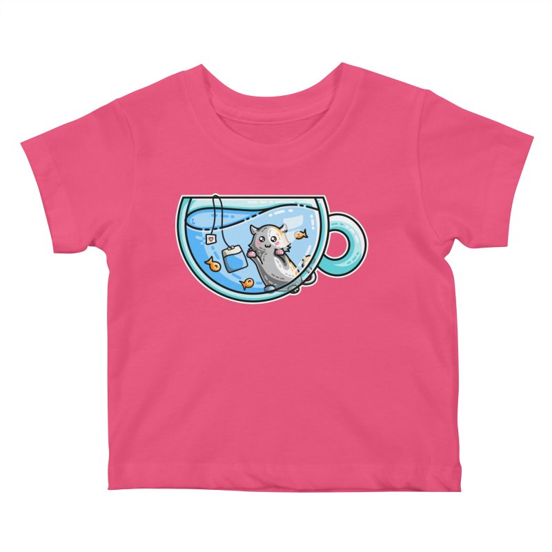 Kit-Tea Kawaii Cute Kitty Pun Kids Baby T-Shirt by Flaming Imp's Artist Shop