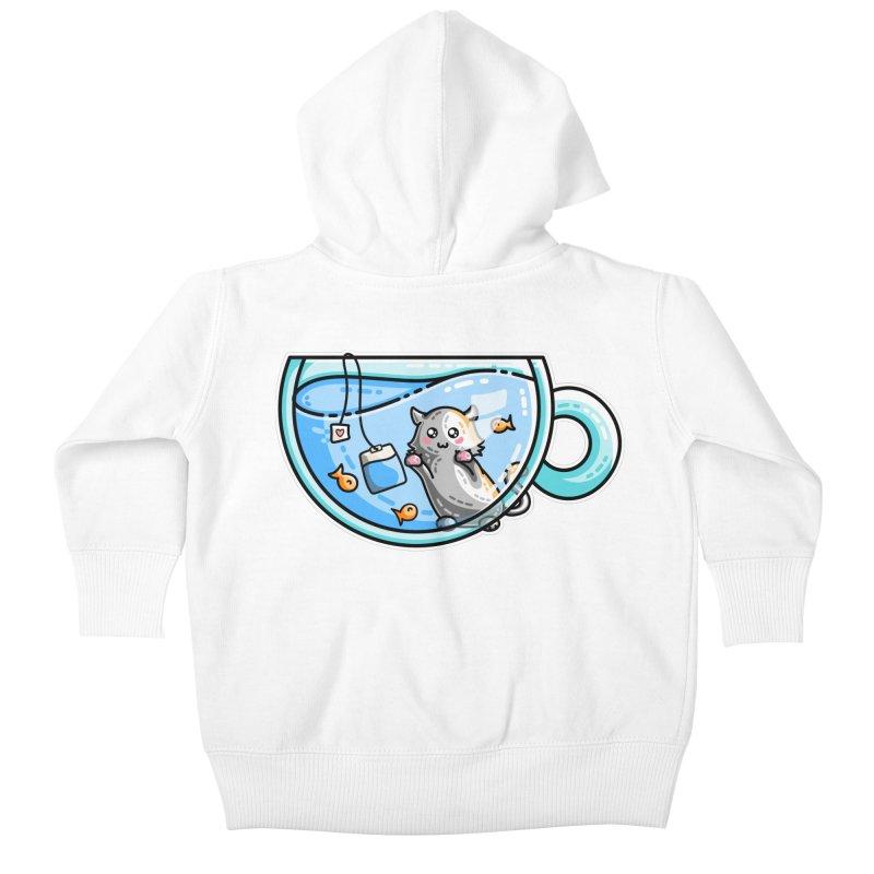 Kit-Tea Kawaii Cute Kitty Pun Kids Baby Zip-Up Hoody by Flaming Imp's Artist Shop