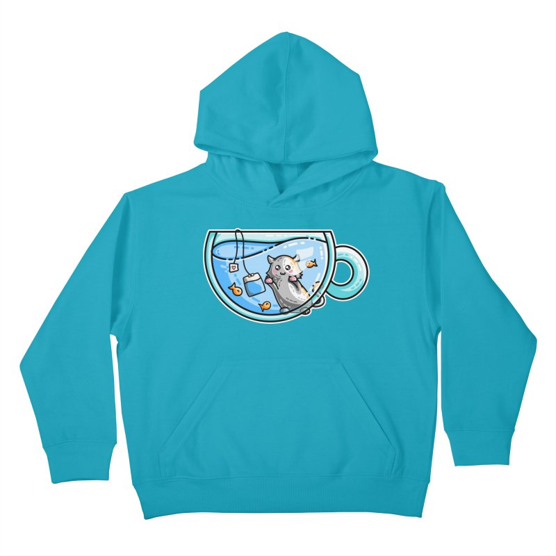 Kit-Tea Kawaii Cute Kitty Pun Kids Pullover Hoody by Flaming Imp's Artist Shop