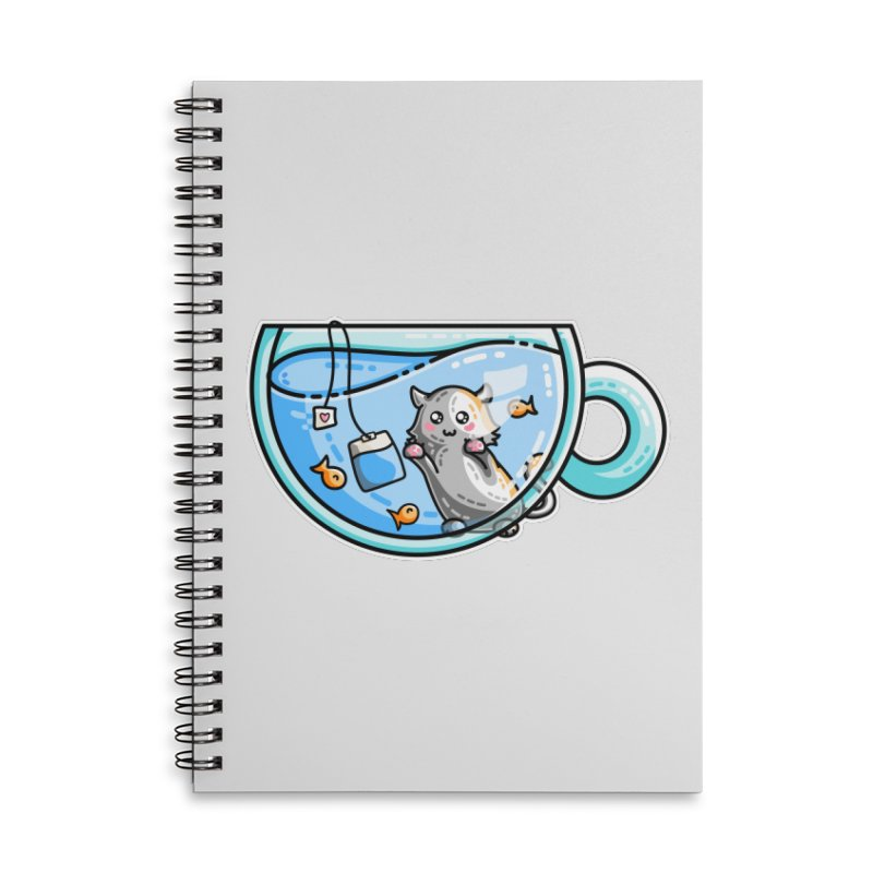 Kit-Tea Kawaii Cute Kitty Pun Accessories Lined Spiral Notebook by Flaming Imp's Artist Shop