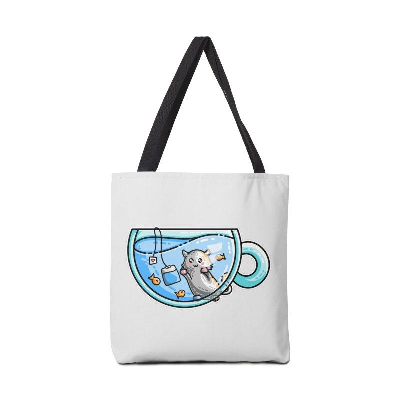 Kit-Tea Kawaii Cute Kitty Pun Accessories Tote Bag Bag by Flaming Imp's Artist Shop