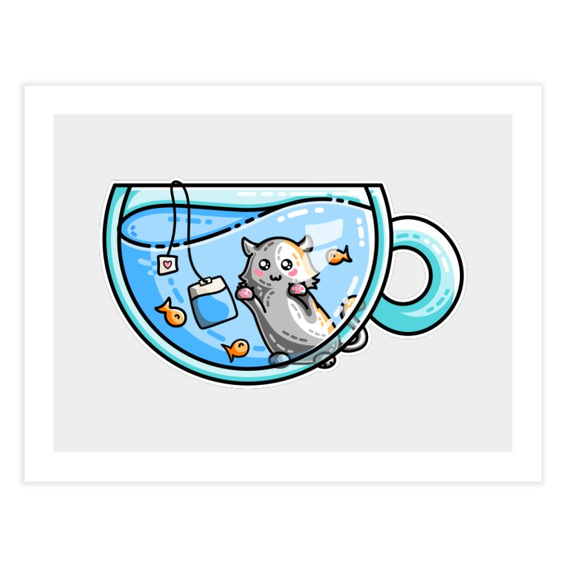 Kit-Tea Kawaii Cute Kitty Pun Home Fine Art Print by Flaming Imp's Artist Shop