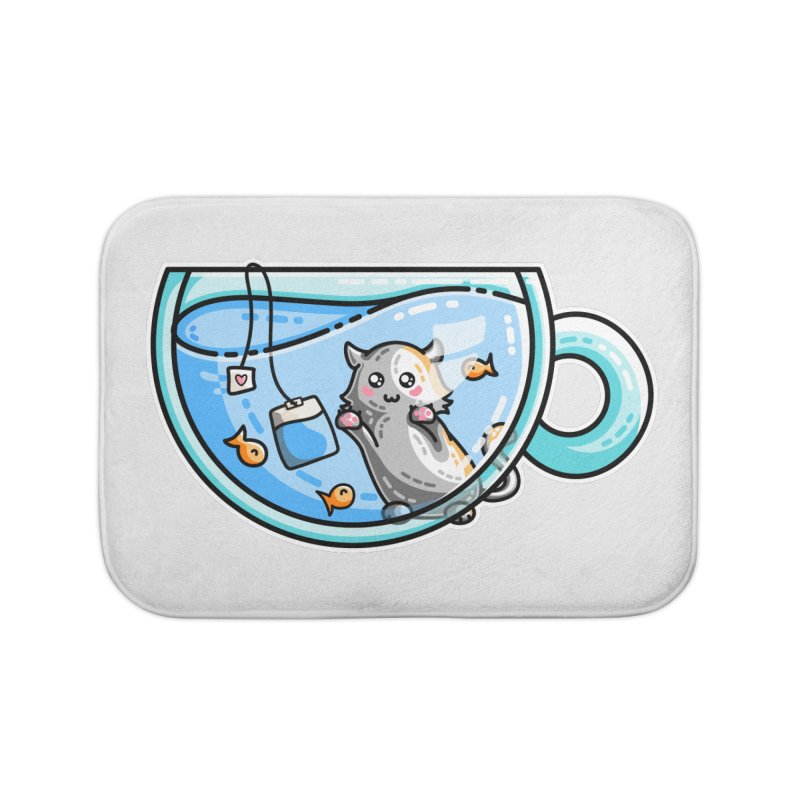 Kit-Tea Kawaii Cute Kitty Pun Home Bath Mat by Flaming Imp's Artist Shop