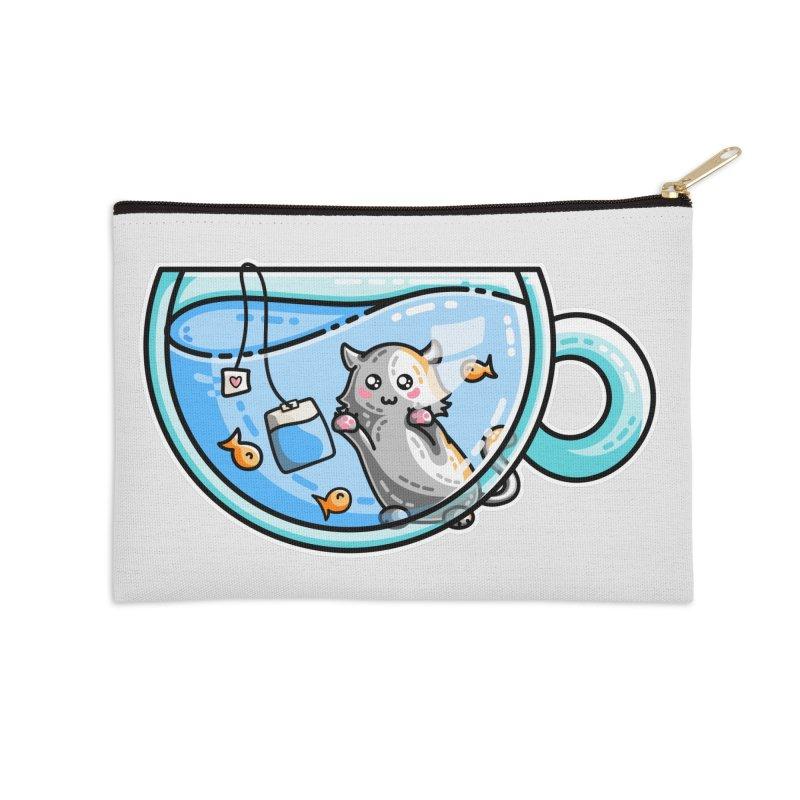 Kit-Tea Kawaii Cute Kitty Pun Accessories Zip Pouch by Flaming Imp's Artist Shop