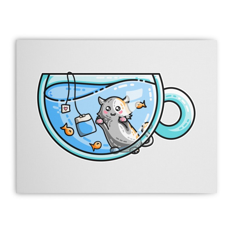 Kit-Tea Kawaii Cute Kitty Pun Home Stretched Canvas by Flaming Imp's Artist Shop