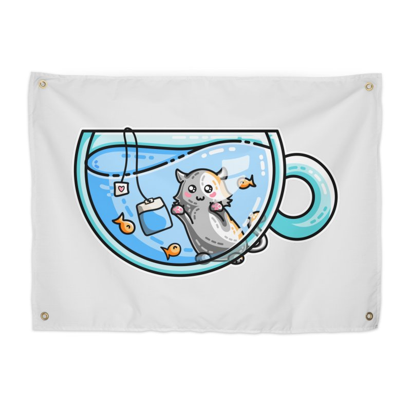 Kit-Tea Kawaii Cute Kitty Pun Home Tapestry by Flaming Imp's Artist Shop