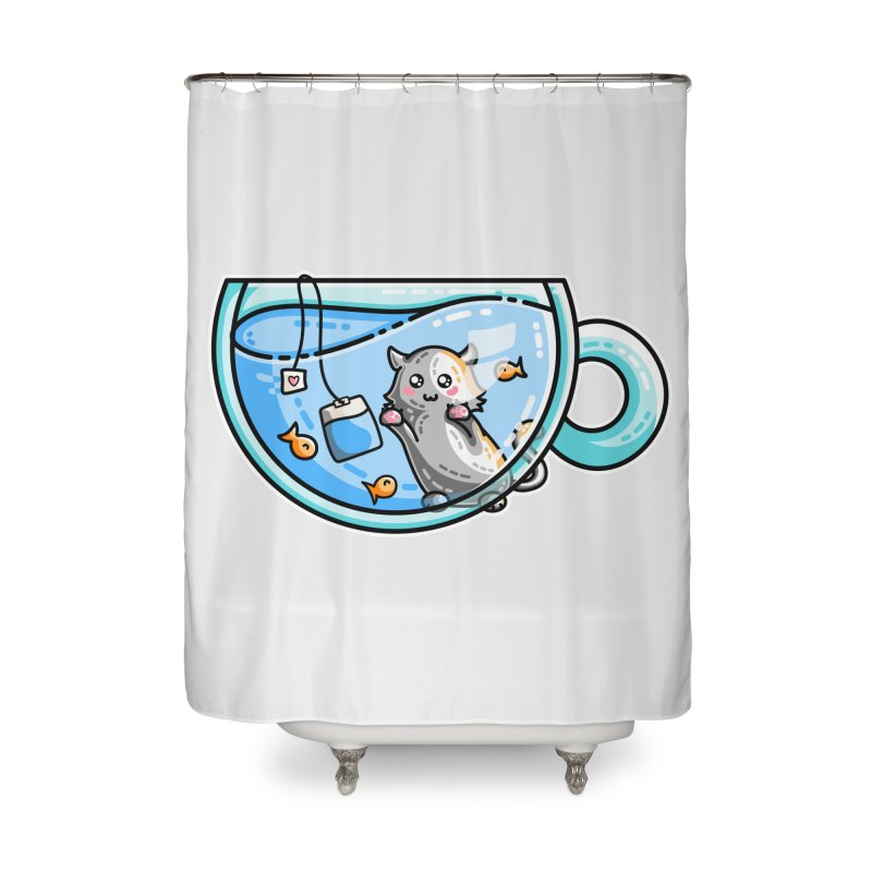 Kit-Tea Kawaii Cute Kitty Pun Home Shower Curtain by Flaming Imp's Artist Shop