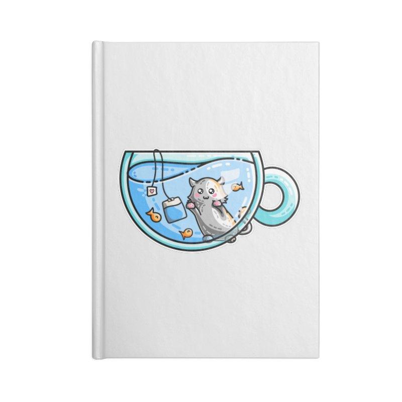 Kit-Tea Kawaii Cute Kitty Pun Accessories Blank Journal Notebook by Flaming Imp's Artist Shop