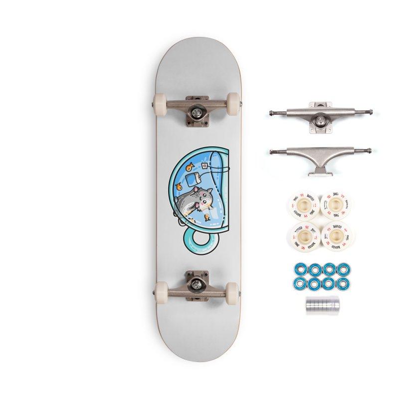 Kit-Tea Kawaii Cute Kitty Pun Accessories Complete - Premium Skateboard by Flaming Imp's Artist Shop