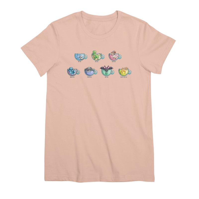 Kawaii Cute Tea Puns Collection Women's Premium T-Shirt by Flaming Imp's Artist Shop