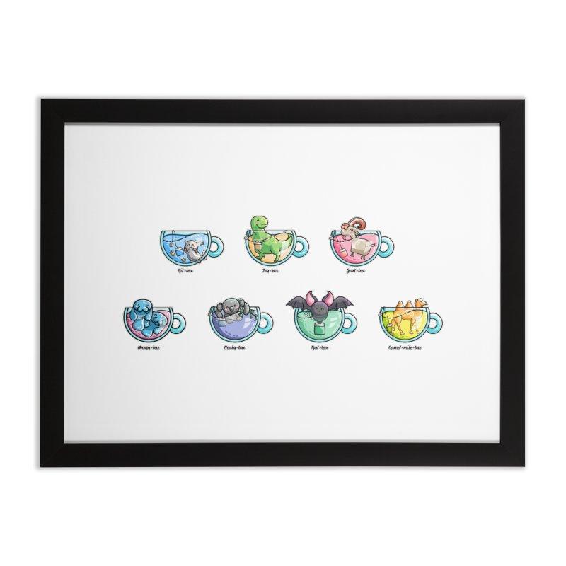 Kawaii Cute Tea Puns Collection Home Framed Fine Art Print by Flaming Imp's Artist Shop
