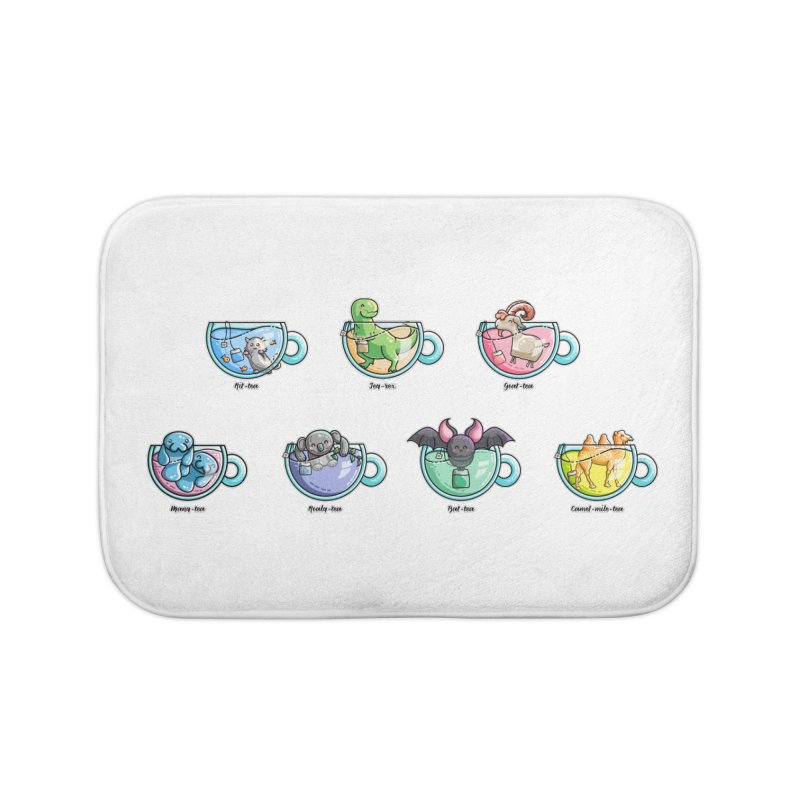Kawaii Cute Tea Puns Collection Home Bath Mat by Flaming Imp's Artist Shop