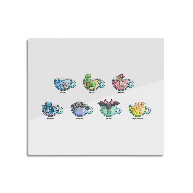 Kawaii Cute Tea Puns Collection Home Mounted Aluminum Print by Flaming Imp's Artist Shop
