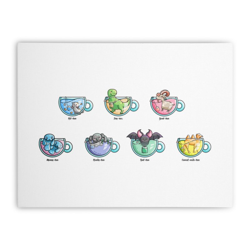 Kawaii Cute Tea Puns Collection Home Stretched Canvas by Flaming Imp's Artist Shop