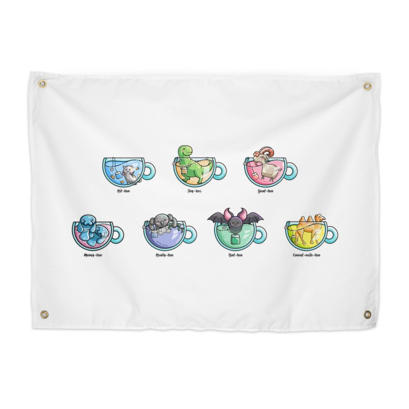 Kawaii Cute Tea Puns Collection Home Tapestry by Flaming Imp's Artist Shop