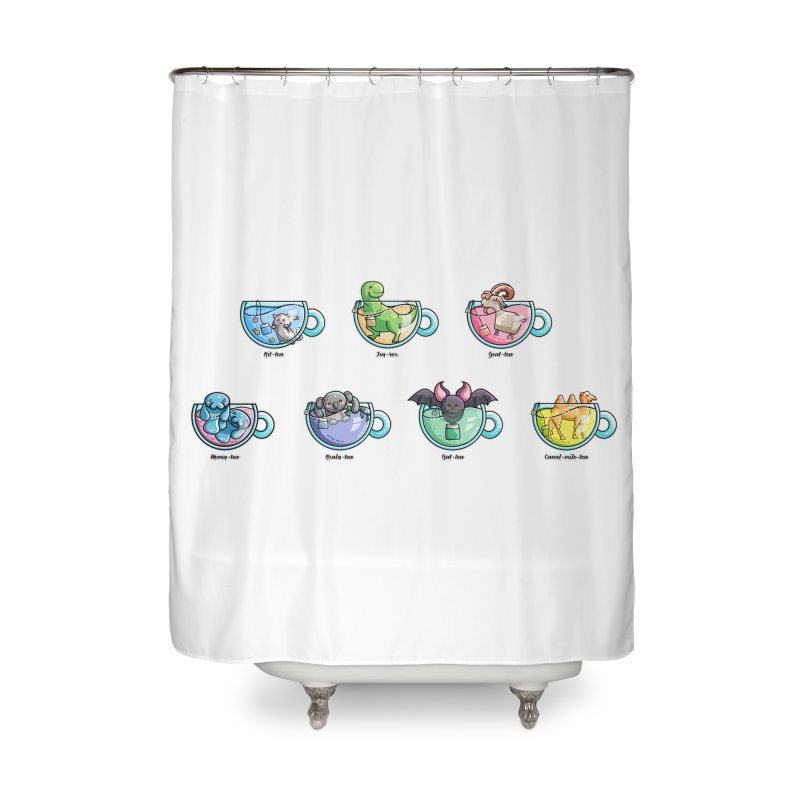 Kawaii Cute Tea Puns Collection Home Shower Curtain by Flaming Imp's Artist Shop