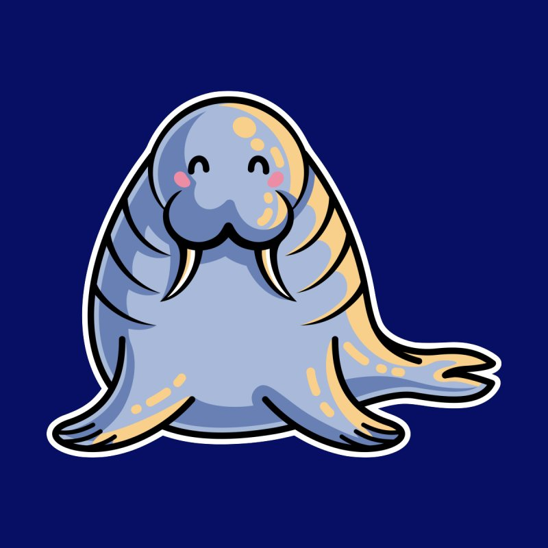 Kawaii Cute Walrus Men's T-Shirt by Flaming Imp's Artist Shop