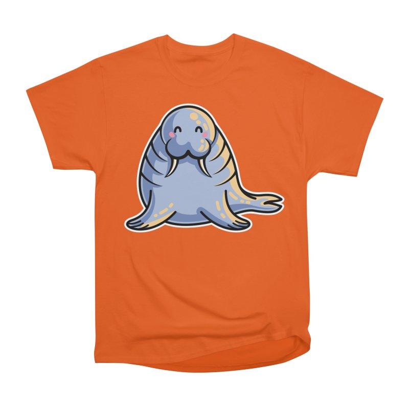Kawaii Cute Walrus Women's Heavyweight Unisex T-Shirt by Flaming Imp's Artist Shop