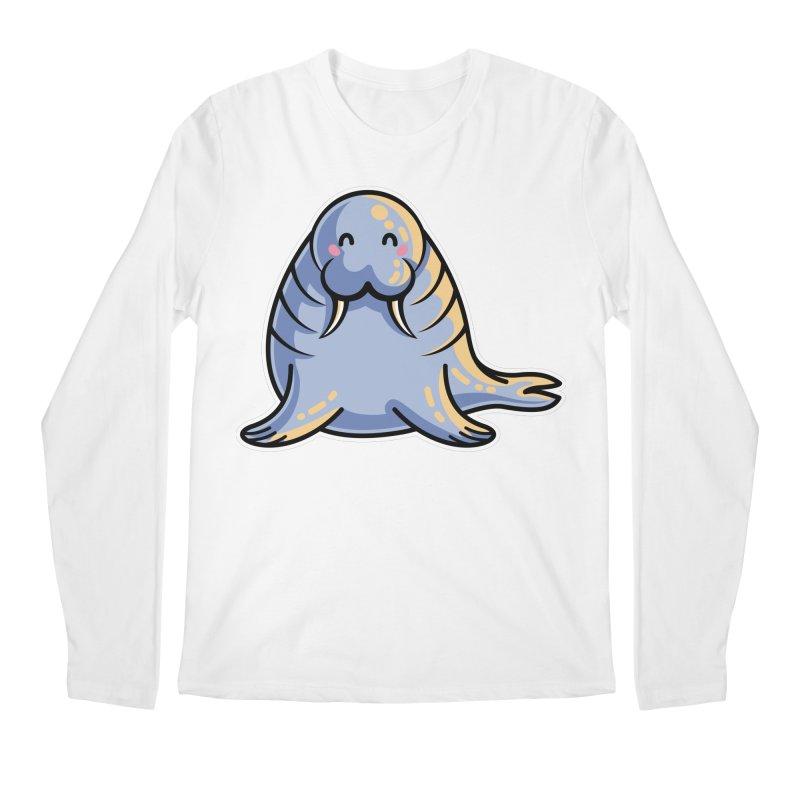 Kawaii Cute Walrus Men's Regular Longsleeve T-Shirt by Flaming Imp's Artist Shop