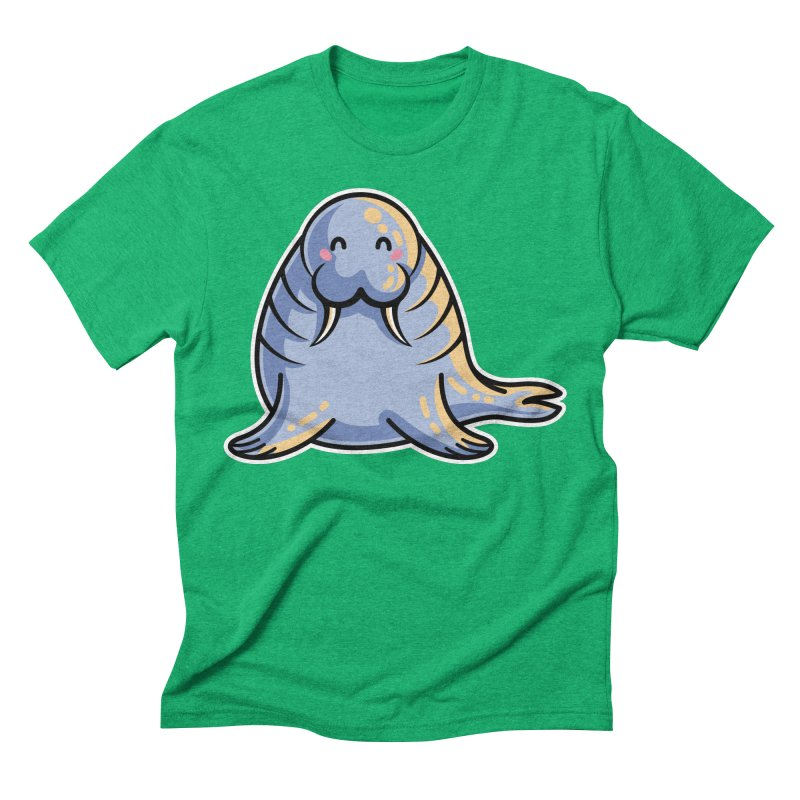 Kawaii Cute Walrus Men's Triblend T-Shirt by Flaming Imp's Artist Shop