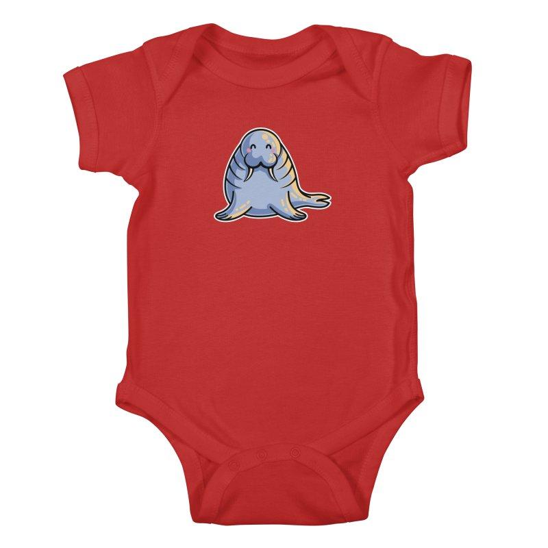 Kawaii Cute Walrus Kids Baby Bodysuit by Flaming Imp's Artist Shop