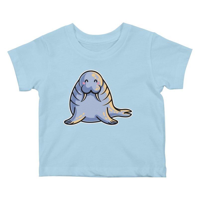 Kawaii Cute Walrus Kids Baby T-Shirt by Flaming Imp's Artist Shop