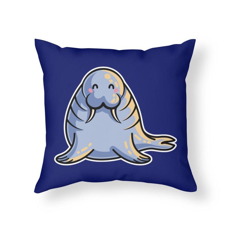 Kawaii Cute Walrus Home Throw Pillow by Flaming Imp's Artist Shop