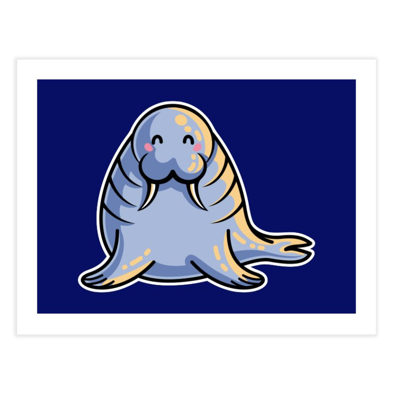 Kawaii Cute Walrus Home Fine Art Print by Flaming Imp's Artist Shop