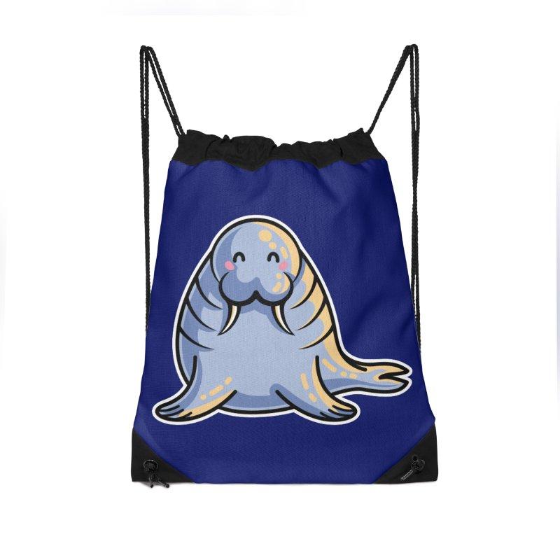 Kawaii Cute Walrus Accessories Drawstring Bag Bag by Flaming Imp's Artist Shop
