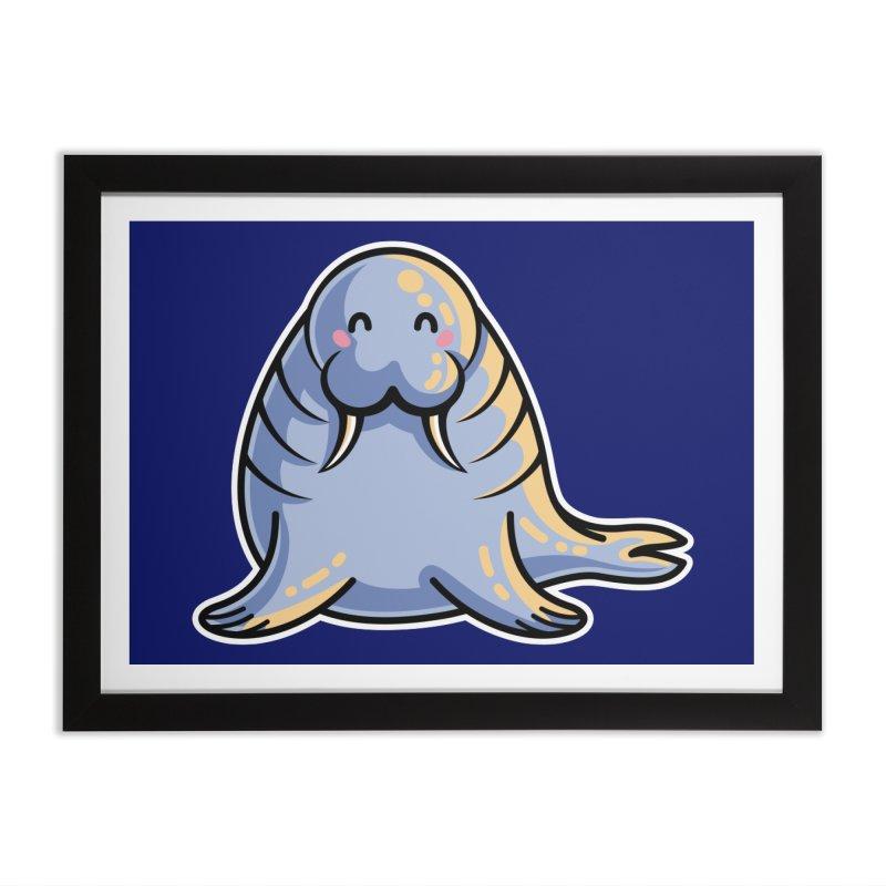 Kawaii Cute Walrus Home Framed Fine Art Print by Flaming Imp's Artist Shop