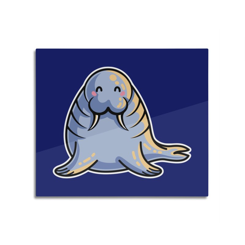 Kawaii Cute Walrus Home Mounted Aluminum Print by Flaming Imp's Artist Shop