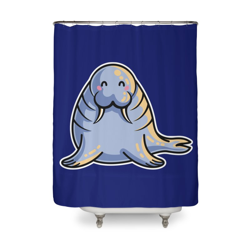 Kawaii Cute Walrus Home Shower Curtain by Flaming Imp's Artist Shop